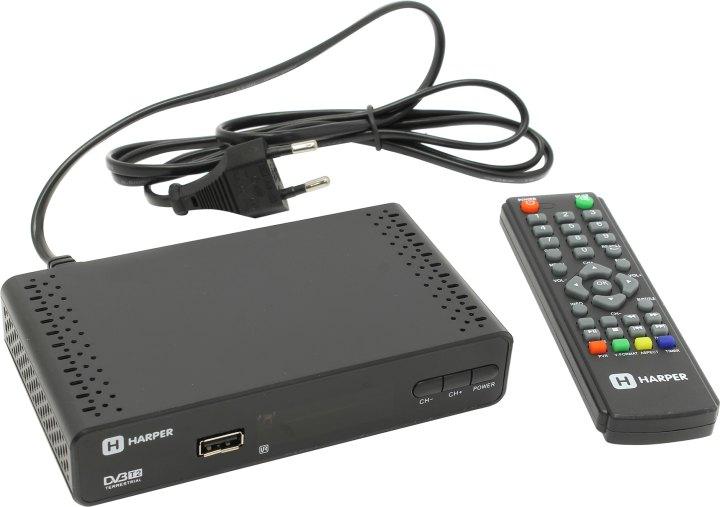 Цифровой телевизионный DVB-T2 ресивер HARPER HDT2-1513 цифровой телевизионный ресивер bbk smp 016 hdt2 темно серый