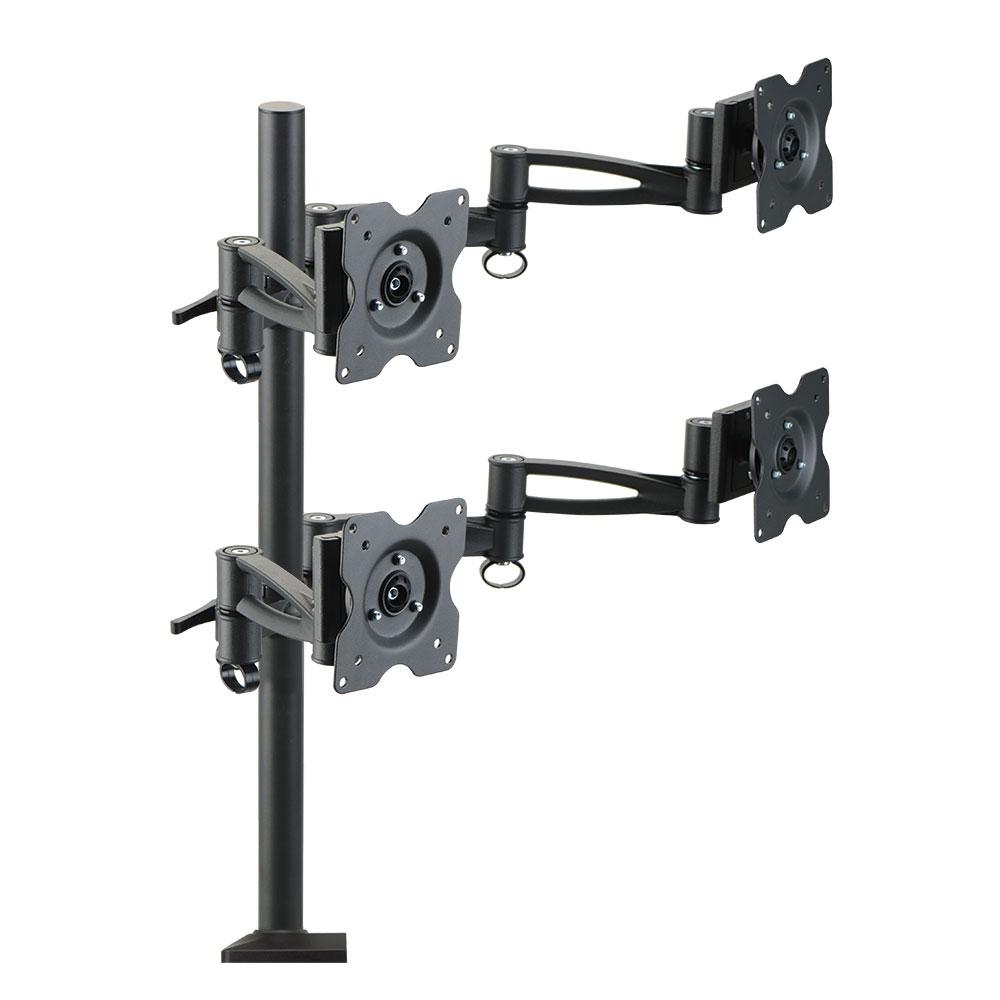 Кронштейн для мониторов Kromax OFFICE-4, Black для 4-х LCD мониторов 15-32, 5 ст. свободы, 3D вращение, VESA 75/100, max 4х8 кг