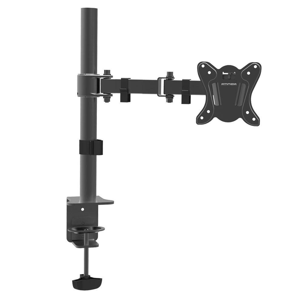 Настольный наклонно-поворотный кронштейн ARM MEDIA LCD-T12 black, 15-32, max 12 кг. 5 ст св., нак. ±45°, пов. 360°, max VESA 100x100 мм. кронштейн для мониторов arm media lcd t02 black 15 32 настольный наклонно поворотный vesa до 100x100 до 7 кг
