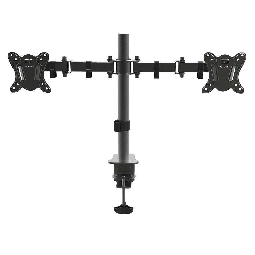 Настольный наклонно-поворотный кронштейн ARM MEDIA LCD-T13 black 15-32, max 2x8 кг. 5 ст св., нак. ±45°, пов. 360°, max VESA 100x100 мм. arm media lcd t13 15 32 до 8кг vesa до 100x100 черный для двух мониторов
