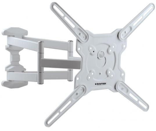 Кронштейн Kromax Optima-407W белый, LED/LCD телевизоров 22-65, max 45 кг, настенный, 5 ст свободы, наклон +5°-15°, поворот 180°, от стены 55-470 мм теплоотводящая подставка для ноутбуков kromax satellite 60 ноутбука планшетника наклон размер 52х26 см max 9 кг
