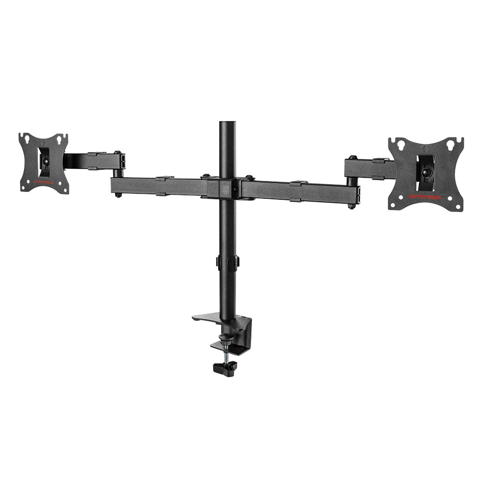 Кронштейн для мониторов Arm Media LCD-T04 black для 2-х 15-32, max 2х7 кг, 6 ст свободы, наклон ±10°, поворот ±90°, выс. штан. 358 мм, VESA100x100мм