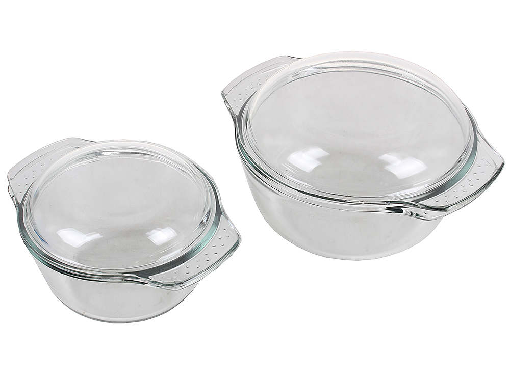 Набор кастрюль из стекла UNIT UCW-5100 , серия Weiler, для СВЧ и Духовки, от -30 до +250С, объём 1л. + 2л. от OLDI