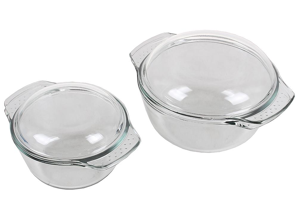 Набор кастрюль из стекла UNIT UCW-5110 , серия Weiler, для СВЧ и Духовки, от -30 до +250С, объём 1,4л. + 2,8л. от OLDI