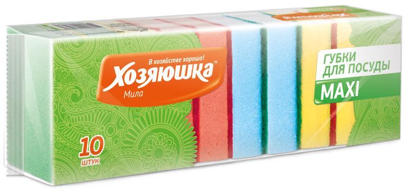Губка для посуды Хозяюшка Мила MAXI 01001 10шт