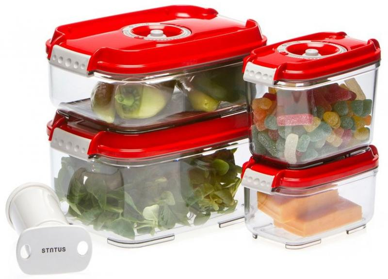 Набор контейнеров для вакуумного упаковщика Status VAC-REC-Smaller красный контейнер для вакуумного упаковщика status vac rec 20 красный