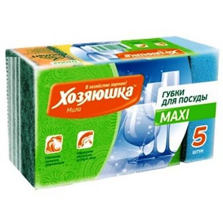ХОЗЯЮШКА Мила Губка для посуды MAXI 5шт