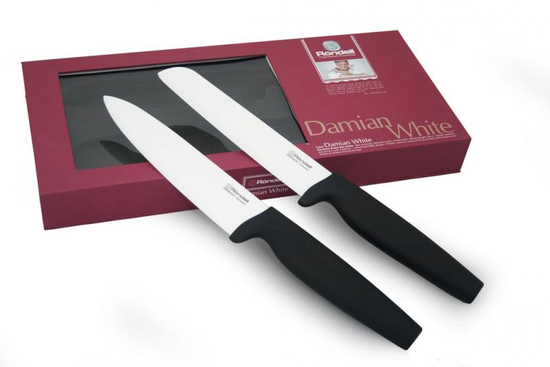 Набор ножей Rondell RD-463 2шт  Damian White 464rd набор ножей rondell керамика 2шт damian black rd 464