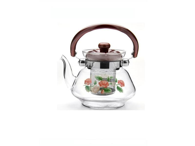 Чайник заварочный Mayer&Boch 2589 0.8 л пластик/стекло коричневый прозрачный рисунок