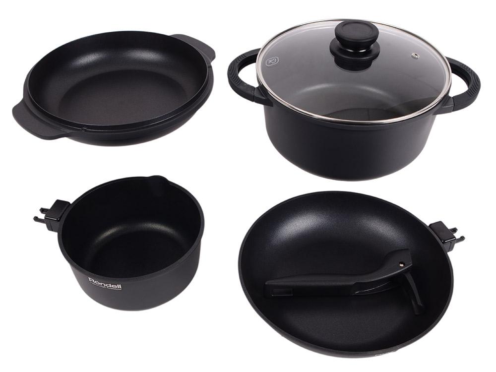 Набор посуды Rondell 563-RDA кастрюля сковорода сотейник стеклянная крышка 24см ковш съемная ручка