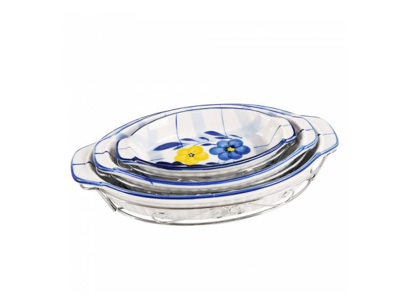 Набор блюд Bekker BK-7307 3 предмета белый с рисунком набор мармитов bekker с крышками 2 шт bk 7401
