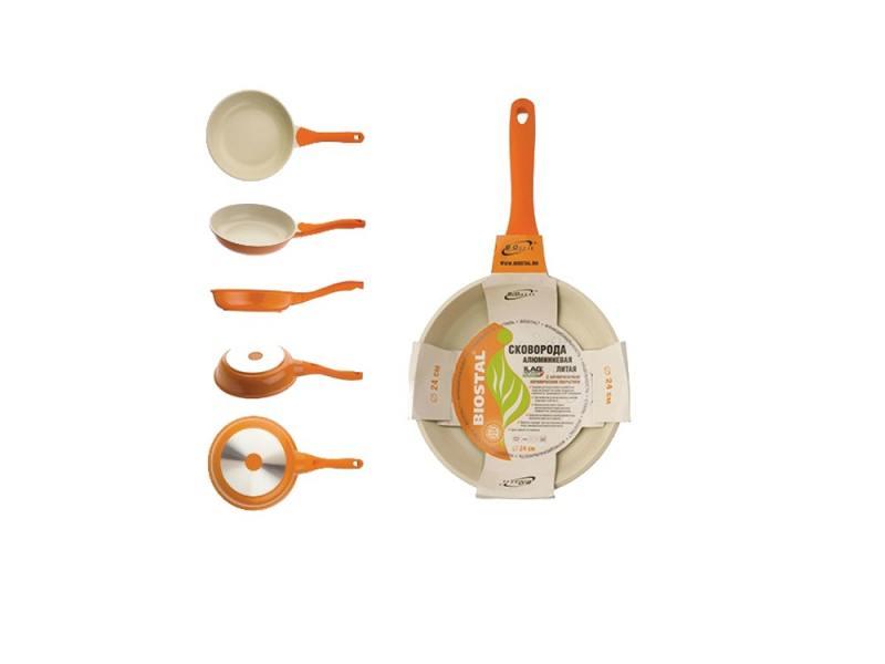 Сковорода BIOSTAL Bio-FP-24 24 см — алюминий, оранжевый
