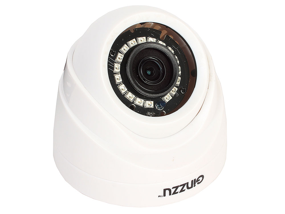 Камера Видеонаблюдения GINZZU HID-1031O IP 1.0Mp OV9732, 3.6mm,купол,IR 20м,пластик
