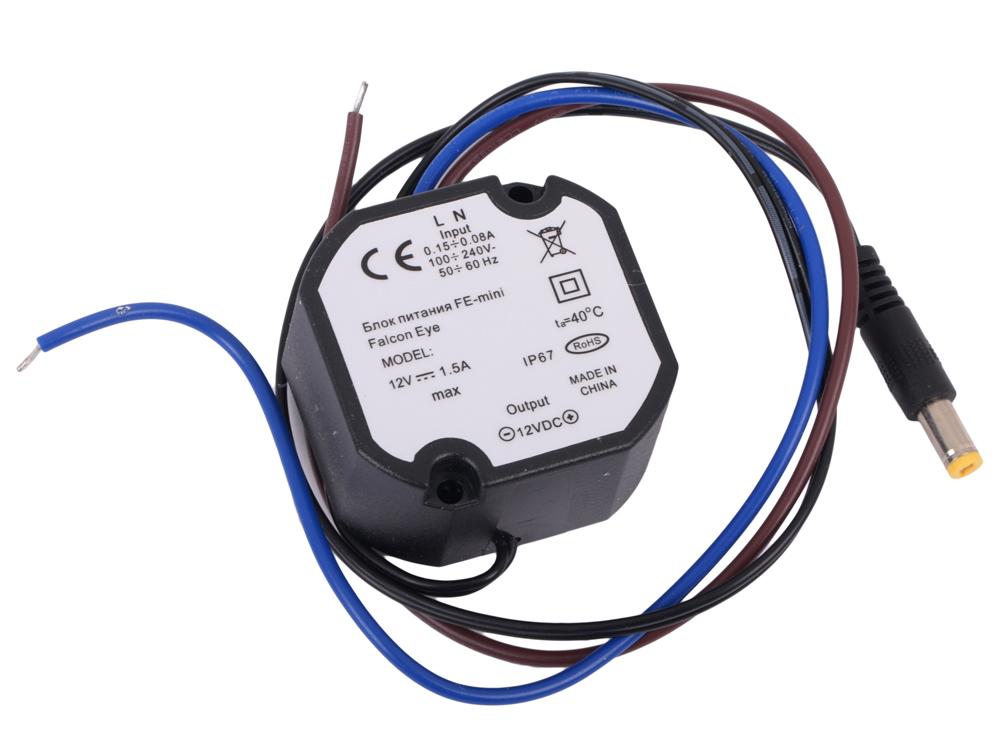 Блок питания Falcon Eye FE-mini IP67 Мощность: 18W, Входное напряжение:AC90V~264В 47~63Hz. Выход:DC12V 1.5A Вес:82.5G Размер изделия(мм):L48хW50хH25