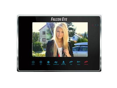 Видеодомофон Falcon Eye FE-70M BLACK цветной, сенсорные кнопки, 7 дюймов Возможности подключения: 2 вызывные панели, 2 камеры, до 4 мониторов в систем видеодомофон evology js 435e b цветной монитор 4 дюйма