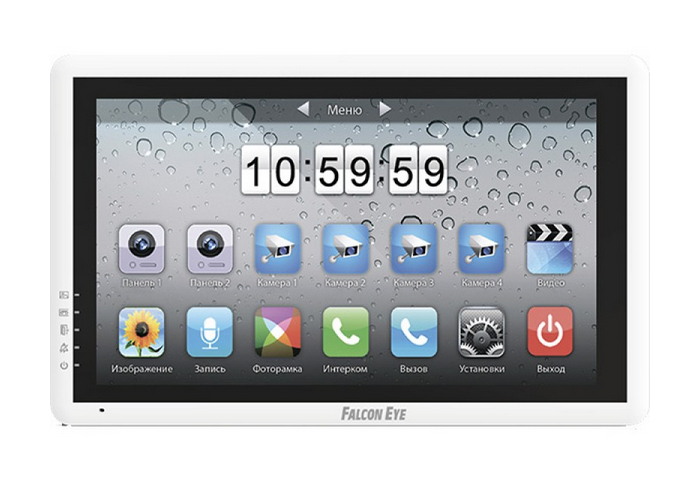 Видеодомофон Falcon Eye FE-70i цветной видеодомофон, сенсорный, 7 дюймов интерфейс IPhone Возможности подключения 2 вызывных панели, 4 камеры, до 4 мо видеодомофоны falcon eye видеодомофон falcon eye fe 70 w черный