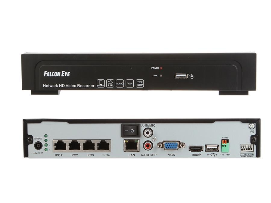 Видеорекордер Falcon Eye FE-NR-5104 4-канальный IP видеорегистратор; Режимы записи:4?(1280*960),4?(1920*1080),4?(2048*1536),4?(2592*1944)