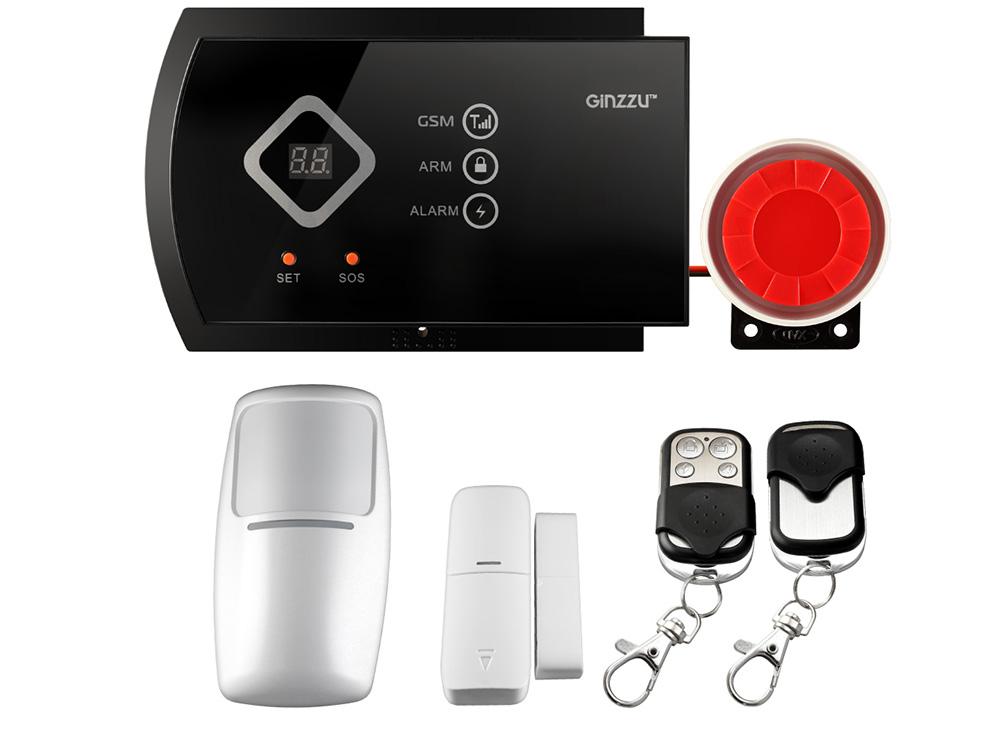 Комплект GSM охранной сигнализации GINZZU HS-K12B Комплект GSM охранной сигнализации: Контрольная панель с экраном, 1 датчик движения,
