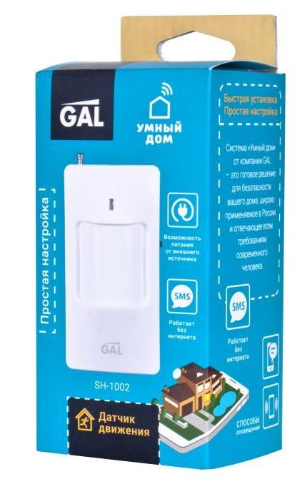 Датчик движения GAL SH-1002 Датчик улавливает движения и сообщает о них. Способы управления/оповещения: SMS, звонок, push-уведомления датчик gidrolock wsr white