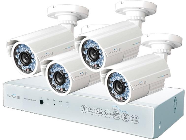 Комплект Видеонаблюдения IVUE D5004 AHC-B4. AHD 1 MPX Дача 4+4