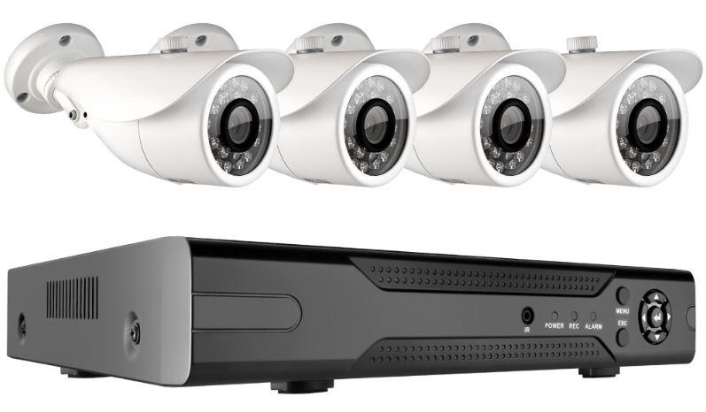 Комплект Видеонаблюдения GINZZU HK-443D 4-канальный 1080N гибридный 3 в 1 видеорегистратор / 4 уличных AHD камеры 2.0Mp (ИК подстветка