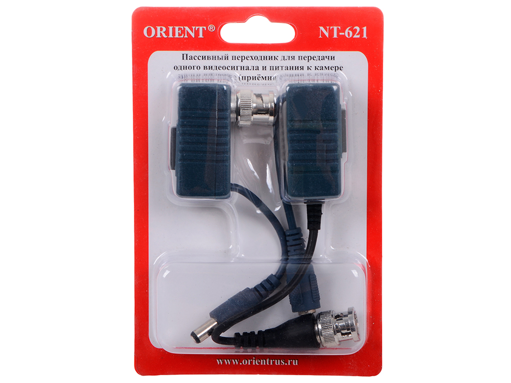Адаптер Orient NT-621 приёмник+передатчик для передачи по витой паре (RJ-45) видео(BNC)+ питание, ret