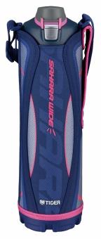 Термос спортивный Tiger MME-C150 Navy 1,5 л, цвет синий (для холодных напитков, нержавеющая сталь, ширина горловины 7см, чехол с регулируемым наплечны термос универсальный tiger mhk a150 xc 1 49 л нержавеющая сталь цвет серебристый горловина 7см крышка кружка пиала складные пластиковые ручки