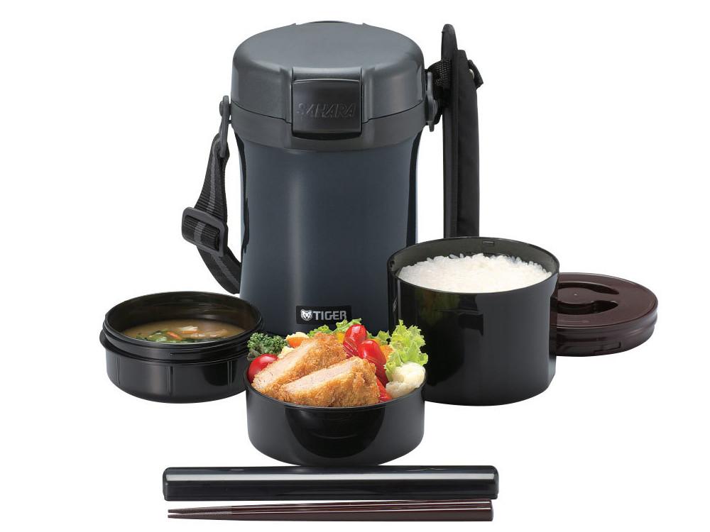 Термос для еды с контейнерами Tiger LWU-A171 Charcoal Gray 0,61л, 0,34л, 0,27л, палочки для еды в чехле, регулируемый наплечный ремень