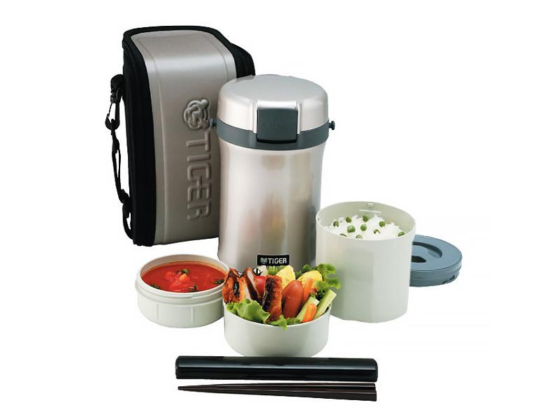 Термос для еды с контейнерами Tiger LWU-B170 Warm Silver (цвет серебряный, в комплекте контейнеры 0,61л, 0,34л, 0,27л, жесткий чехол с регулируемым на