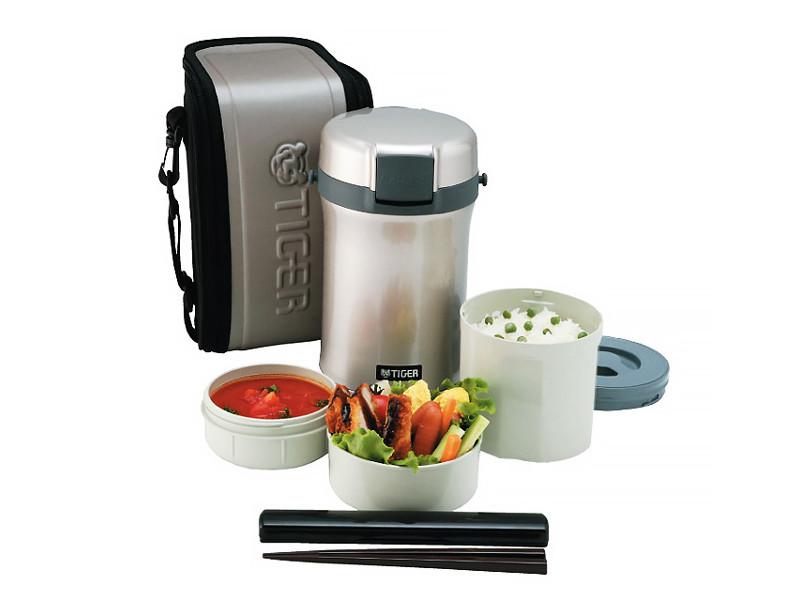 Термос для еды с контейнерами Tiger LWU-B200 Warm Silver (цвет серебряный, в комплекте контейнеры 0,8л, 0,34л, 0,27л, жесткий чехол с регулируемым нап термос для еды с контейнерами tiger lwu a171 charcoal gray 0 61л 0 34л 0 27л палочки для еды в чехле регулируемый наплечный ремень