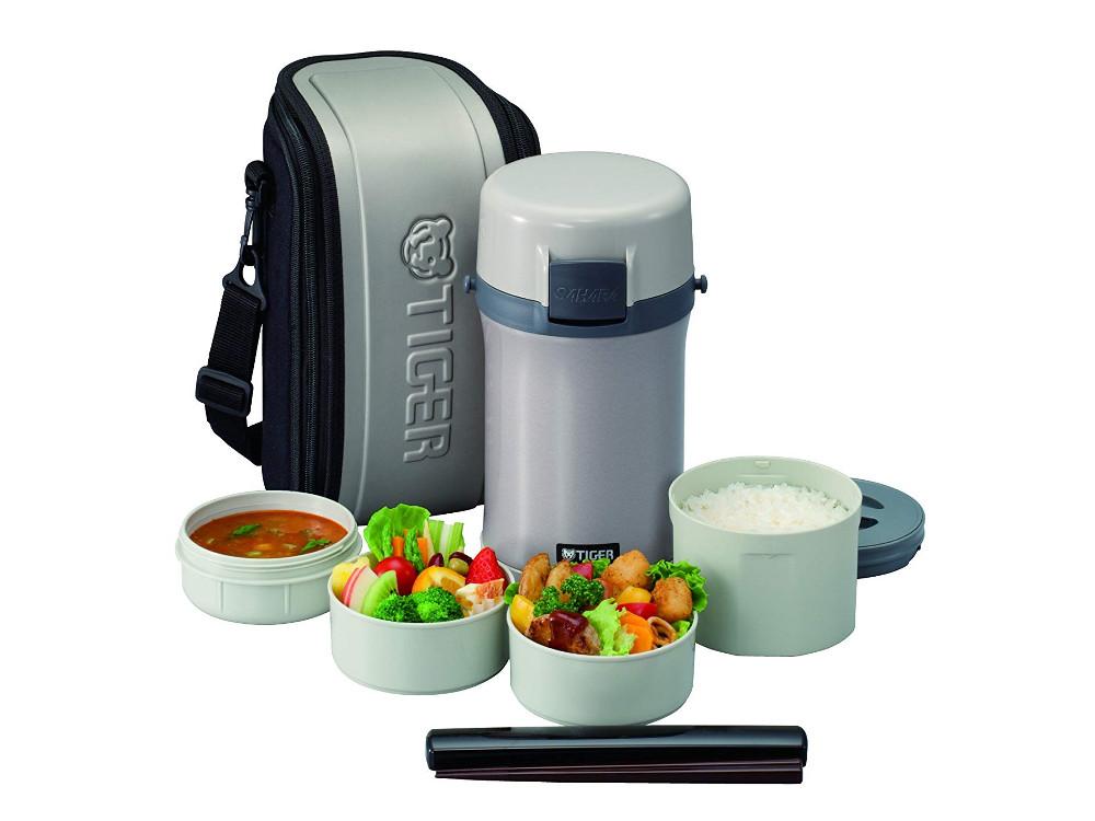 Картинка для Термос для еды с контейнерами Tiger LWU-F200 Warm Silver (цвет серебряный, в комплекте контейнеры 0,61л, 2x0,3л, 0,27л, жесткий чехол с регулируемым н