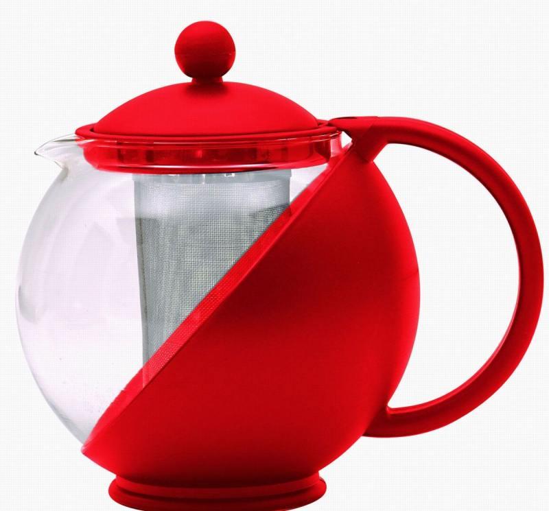 Чайник заварочный Bekker BK-300 0.75 л пластик/стекло красный чайник заварочный bekker 303 вк серебристый 0 9 л металл пластик