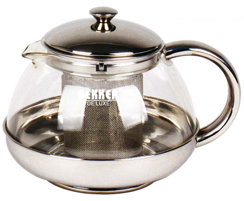 Чайник заварочный Bekker Deluxe BK-399 1 л металл/стекло прозрачный
