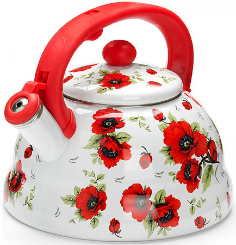26253-МВ Чайник ЭМАЛЬ 3л с/свистком Цветы (х6) 26253 мв чайник эмаль 3л с свистком цветы х6