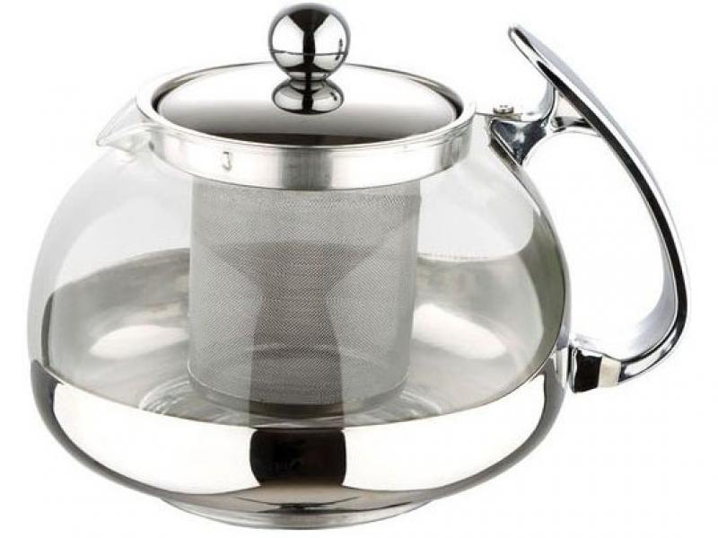 Чайник заварочный Wellberg WB-6862 серебристый 1.2 л металл/стекло