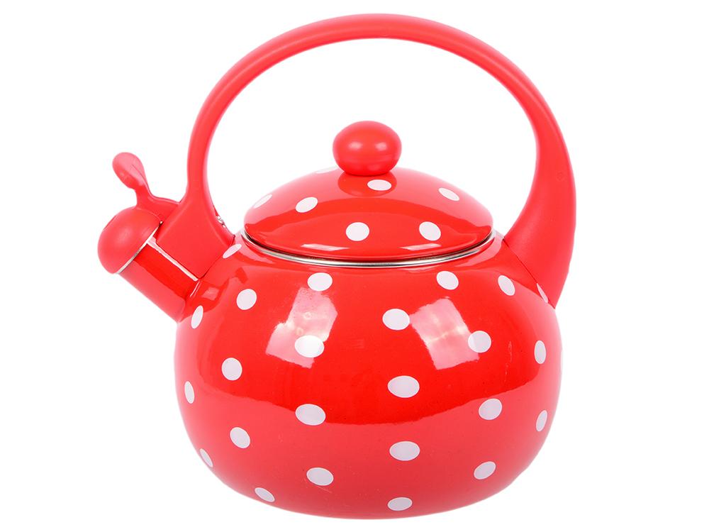Чайник Wellberg WB-3440 красный белый 2.2 л нержавеющая сталь чайник wellberg wb 3413 белый рисунок 2 2 л металл