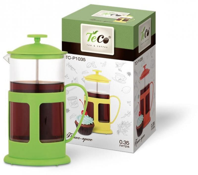 1035P-TC-G(зеленый) Френч-пресс TECO 350 мл из пластика и стекла цветной