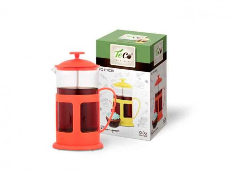 1035P-TC-R(красный) Френч-пресс TECO 350 мл из пластика и стекла цветной
