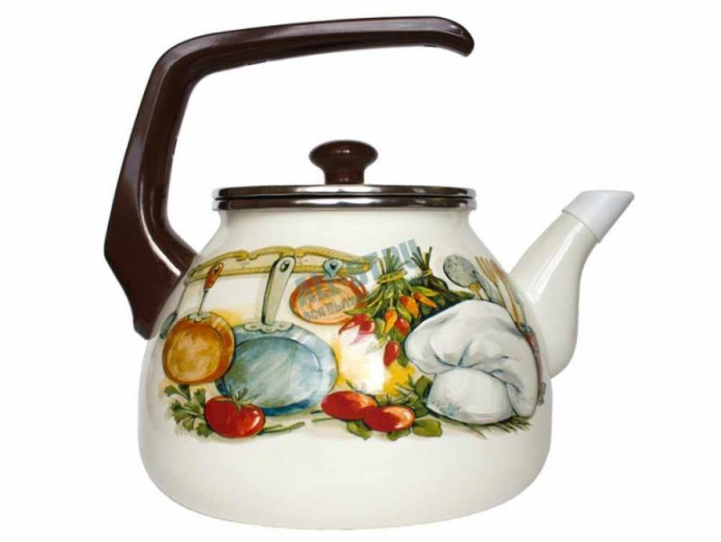 все цены на Чайник INTEROS 15156 Кухня 3 л металл белый рисунок онлайн