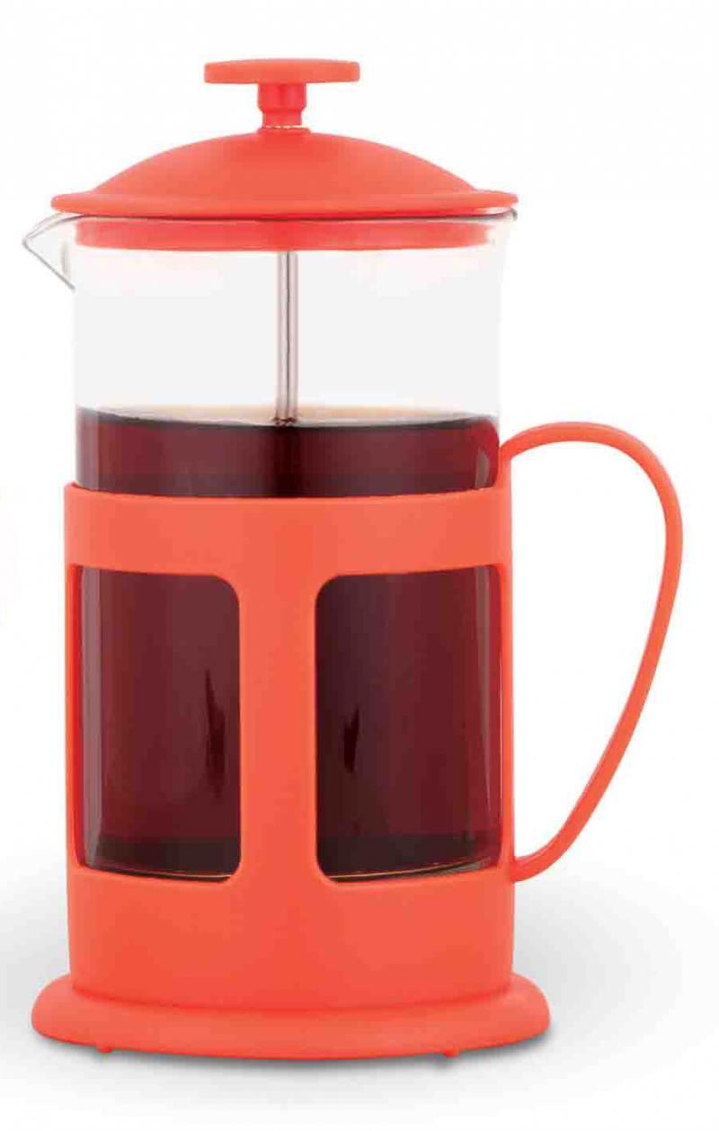 1060P-TC-R(красный) Френч-пресс TECO 600 мл из пластика и стекла цветной