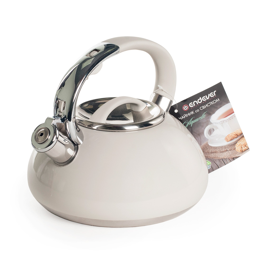 Чайник со свистком Endever 307-Aquarelle кремовый. 3 литра, сталь с термопокрытием.