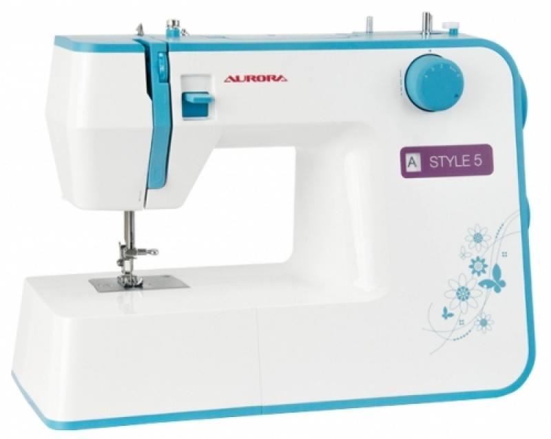 Швейная машина Aurora Style 5 белый голубой утюг aurora