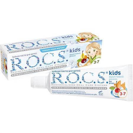 РОКС Зубная паста для детей Фруктовый рожок без фтора 45 гр r o c s зубная паста фруктовый рожок от 3 до 7 лет 45 г