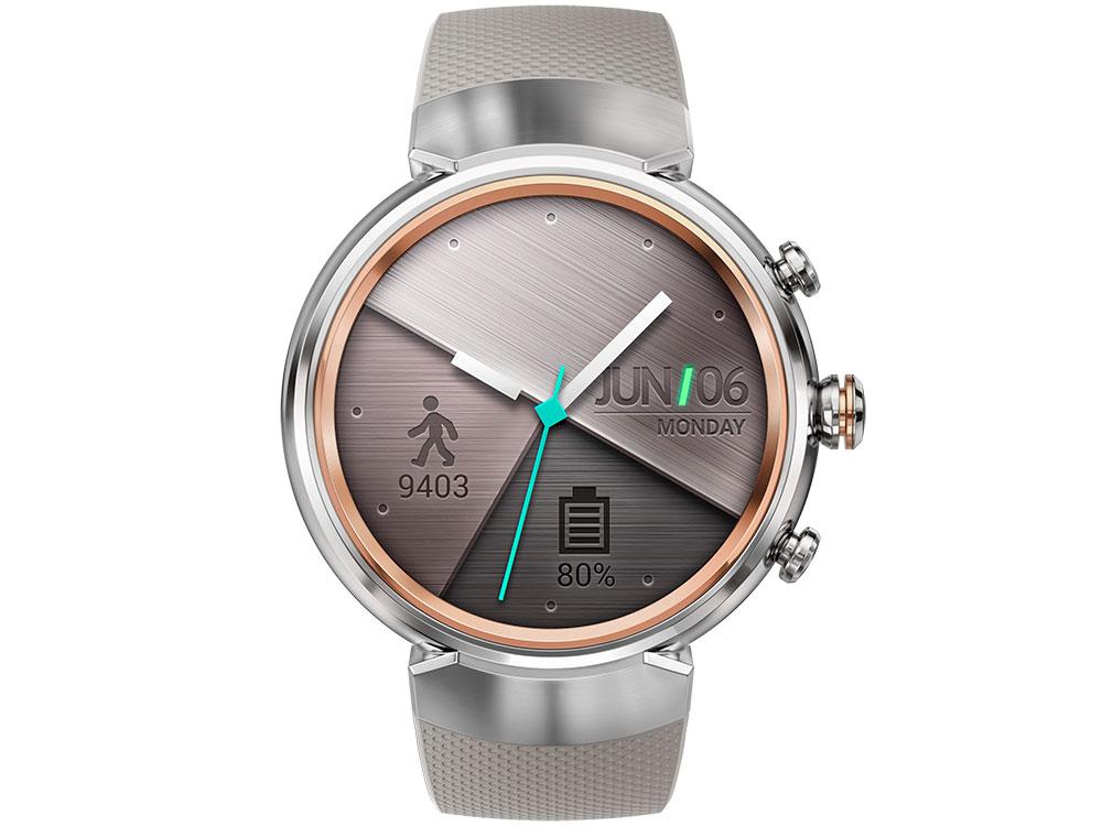 Смарт-часы ASUS ZenWatch 3 WI503Q серебристый с бежевым резиновым ремешком