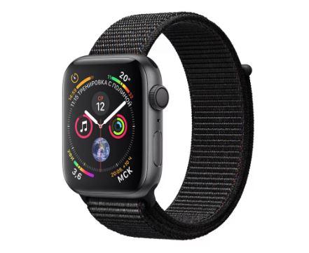 Apple Watch Series 4, 44 мм, корпус из алюминия цвета «серый космос», спортивный браслет чёрного цве смарт часы apple watch series 3 38 мм серый космос спортивный браслет черный mqkv2ru a