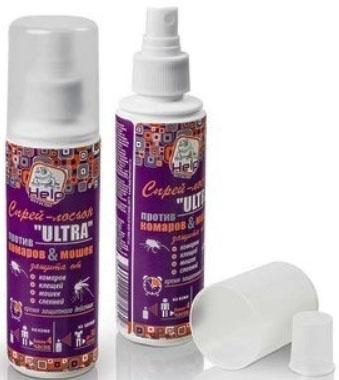 HELP Спрей-лосьон от комаров и клещей ULTRA 4 часа защиты репеллентный, 125 мл /24 концентрат от клещей help для защиты дачного участка 100 мл