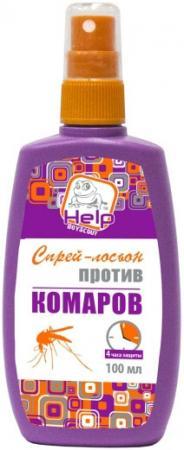 HELP Спрей-лосьон от комаров до 4 часов защиты репеллентный, 100 мл /24