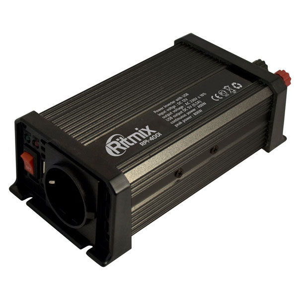 Инвертор авто RITMIX RPI-4001 (1 USB порт 5 В, Вых мощ. макс. - 400 Вт, защита от низкого/высокого напряжения, подкл. к автоприкуривателю авто.)