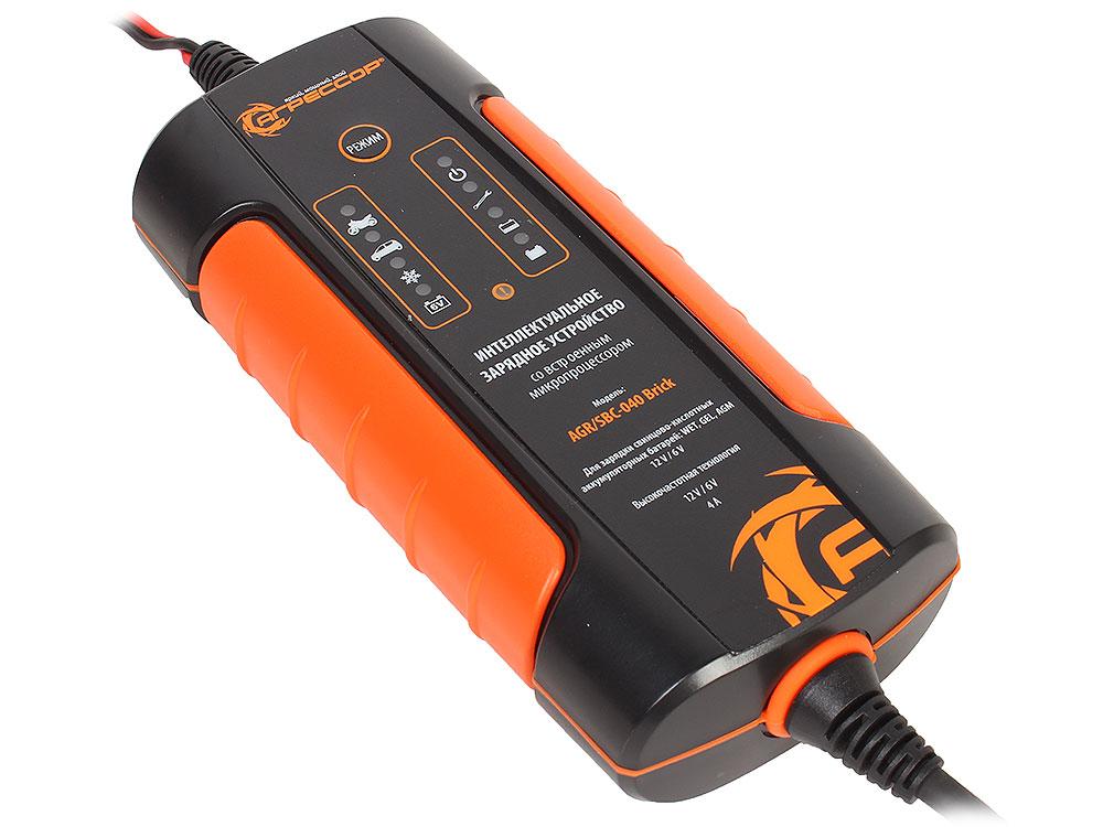 Цифровое зарядное устройство Агрессор AGR/SBC-040 Brick, 9 фаз зарядки, ток зарядки 4А,  для 6V/12V  АКБ (WET, AGM, GEL), 1/30