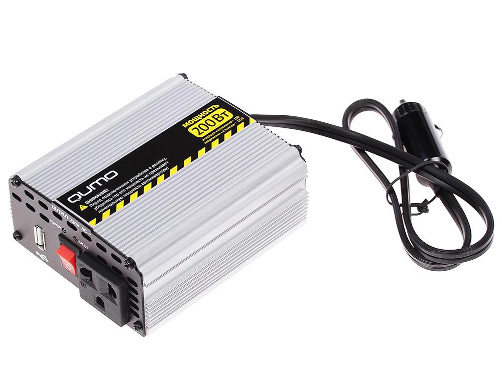Автомобильный инвертор Qumo (16183) 12220v/200W в прикуриватель, USB выход, система защиты